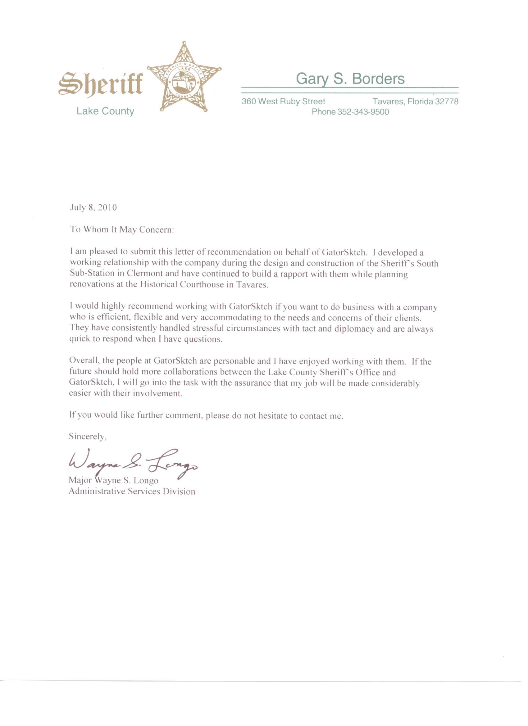 Lake County Sheriff Architect Reference