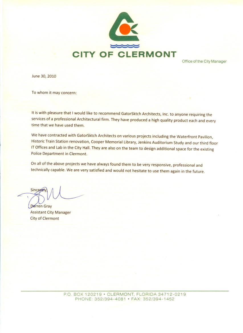 City of Clermont Architect Reference